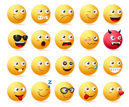 Smiley emoji side view set vector. Smileys emoticon or icon face character in sad, scared, demon, shocked and happy emotion wearing sunglasses isolated in white background. Vector illustration. Иллюстрация