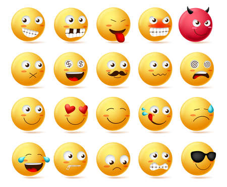 Smiley emoticon vector character face set. Smileys cute faces emoji in side view with happy, angry, scared, silent, sad, evil and inlove isolated in white background. Vector illustration.
