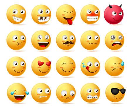 Smiley emotikon wektor znak twarz zestaw. Uśmieszki słodkie twarze emoji w widoku z boku ze szczęśliwymi, złymi, przestraszonymi, cichymi, smutnymi, złymi i zakochanymi na białym tle. Ilustracja wektorowa.