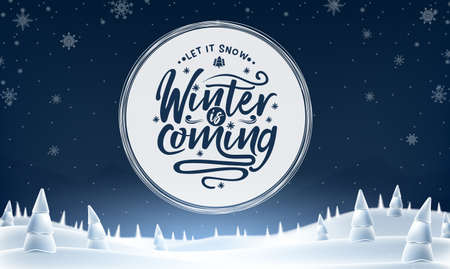 Winter is Coming Text in Cycle White Space on Snowy Night Woodland with Snowy Trees Landscape Banner. Vector Illustration