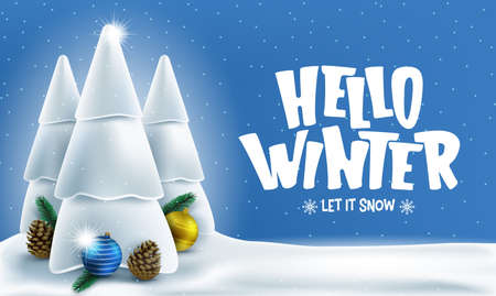 Winter Banner with Hello Winter Greeting Text and Three Snowy Trees in Snowy Woodland Landscape Blue Background Banner. Vector Illustration