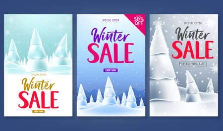 Winter Sale Poster Promotional Card Set with Snowfall Snowy Landscape Woodland Design. Vector Illustration