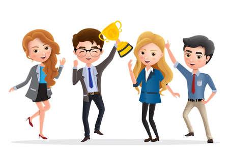 Carattere di vettore di successo aziendale. Personaggi della squadra dei dipendenti aziendali felici che saltano e che tengono il premio trofeo d'oro per il successo e il successo in uno sfondo bianco. Illustrazione vettoriale.