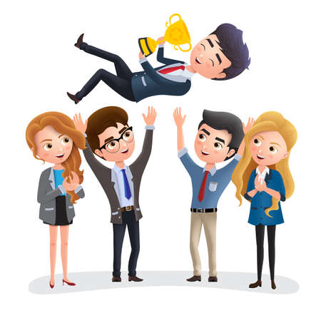 Business employee promotion vector characters. Male business character holding a golden trophy while throwing for office achievement and success. Vector illustration. Çizim