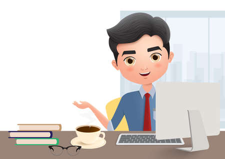 Business manager vector character. Male business character talking and sitting in office desk with laptop, coffee, books and glasses in empty white background. Vector illustration.