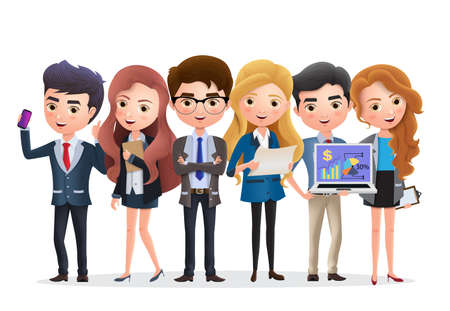 Business team vector characters. Business characters marketing team and manager standing with job teamwork in white background. Vector illustration.