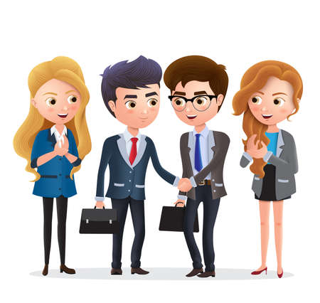 Businessman partnership vector characters. Business partner character with deal agreement and handshake in white background. Vector illustration. Illustration