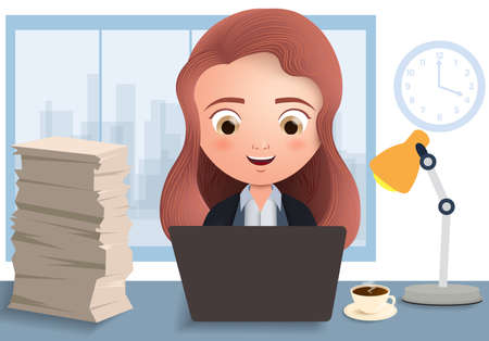 Business employee in overtime vector character. Business female office employee typing and working in desk with laptop, coffee and document in white empty background. Vector illustration. Çizim