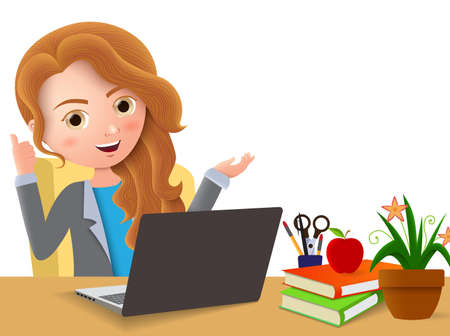 Businesswoman in office desk vector character. Business female office manager happy talking and sitting in office desk with positive hand pose and gesture in white empty background, Vector illustration.