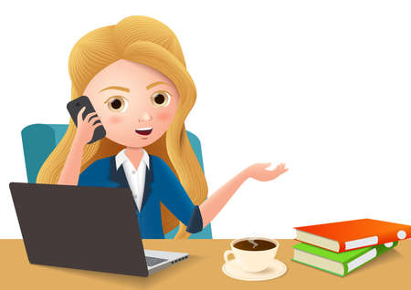 Business manager in office desk vector character. Businesswoman character holding mobile phone while calling and sitting in office desk with laptop, coffee, and books in empty white background. Vector illustration. Çizim