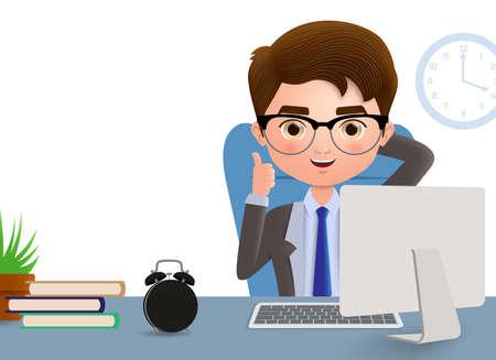 Hombre de negocios en carácter vectorial de escritorio de oficina. Gerente de oficina de negocios sentado y relajado en el escritorio de oficina con gesto de mano positivo y pose en fondo blanco vacío. Ilustración vectorial. Ilustración de vector