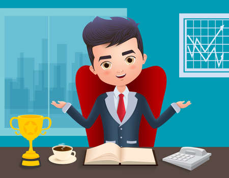 Business boss vector character. Male boss business character sitting and talking in office desk with golden cup trophy, coffee, book and telephone in blue background. Vector illustration.
