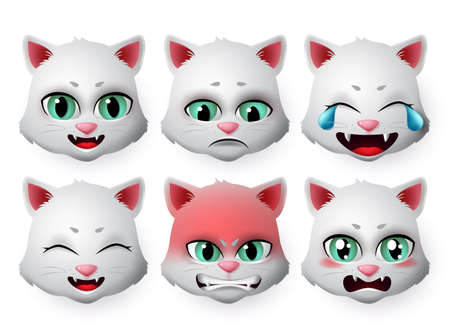 Cat face emoji vector set. Cats emoticon in angry and sad expressions or emotion isolated in white background. Vector illustration 3d realistic.  イラスト・ベクター素材