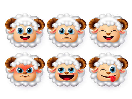 Sheep emoticon and emojis vector set.  Sheeps or lamb face emoticons with 3d realistic design in angry and funny facial expression isolated in white background. Vector illustration.