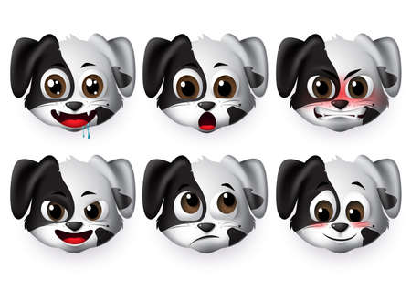 Dogs emoticon vector set.Puppy dog emojis with angry and shy expression for sign and symbols isolated in white background. Vector illustration 3d realistic. Illustration