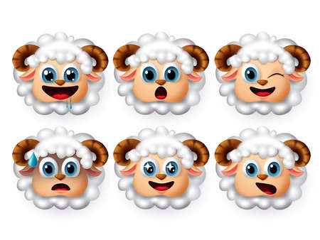Lamb sheep emoji vector set. Cute lamb emojis and sheep emoticon with facial expression of hungry and surprise isolated in white background. Vector illustration 3d realistic.