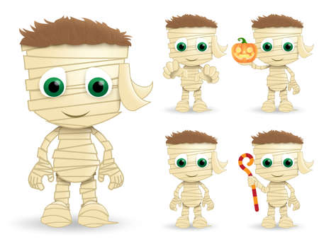 Mummy halloween vector characters set. Mummys character creature wearing halloween costume in paper bandage standing while holding pumpkin lantern and stick isolated in white background. Vector illustration.