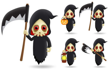 Grim reaper halloween character vector set. Grim reaper skeleton characters wearing halloween costume flying while holding scythe and pumpkin lantern isolated in white background. Vector illustration