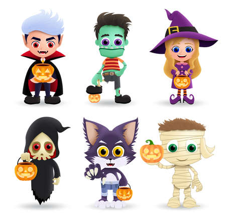 Halloween characters vector set. Cute kids character wearing halloween costume like vampire, zombie, witch, grim reaper, cat and mummy standing while holding pumpkin lantern. Vector illustration.
