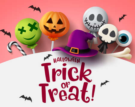 Halloween trick or treat with sweet candies vector background. Halloween trick or treat text in empty space for message with scary candy elements of lollipop, candy cane, bone and hat in white background. Vector illustration.