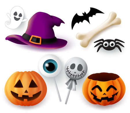 Halloween objects vector set. Halloween trick or treat elements and object of hat, pumpkins, spider, bone, bat, ghost, and eyeball lollipop isolated in white background. Vector illustration. Vetores