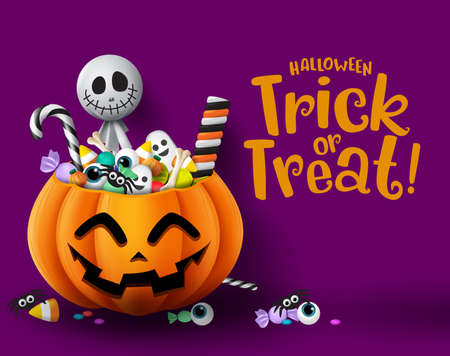 Halloween trick or treat pumpkin vector background template. Halloween trick or treat greeting text with empty space for message and pumpkin basket with sweet candies element. Vector illustration.