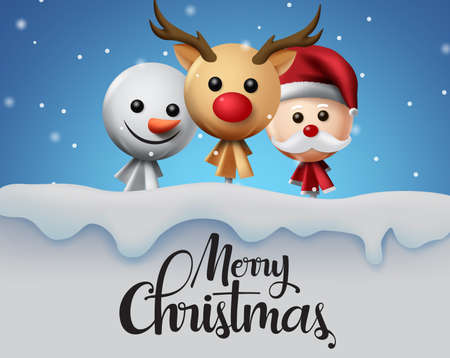 Christmas in snow vector background design. Merry christmas typography greeting text with xmas elements of sweet lollipop in reindeer, snow man and santa claus cover in snow background. Vector illustration.