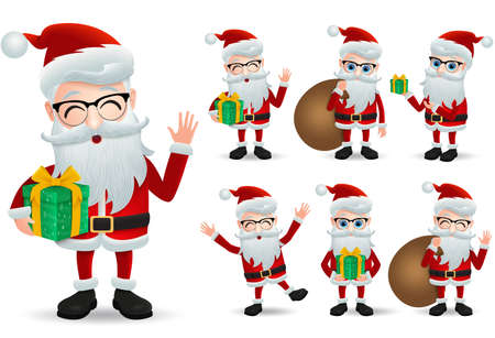 Santa claus vector character set. Santa claus christmas characters holding gift and christmas present while standing and laughing in different pose and gesture isolated in white background. Vector illustration. Illusztráció