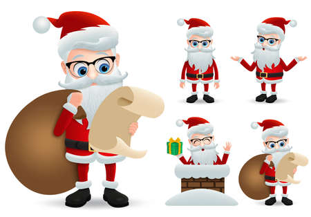 Santa claus christmas character set. Santa claus vector characters holding and reading wish list while carrying sack or bag of christmas gift with happy face expression isolated in white background. Vector illustration.