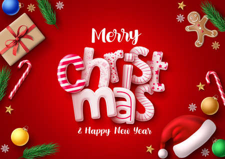 Christmas vector greeting card banner. Merry christmas 3d realistic typography in red empty space for text and messages with santa hat, xmas gift, sweet candy cane and gingerbread cookie decoration for greeting card invitation. Vector illustration. Ilustrace