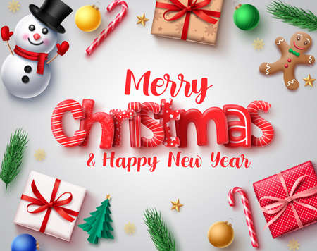Christmas vector design concept. Merry christmas holiday season greeting card with 3d xmas elements of snowman, gingerbread, gift , candy cane, balls and pine leaves in white background. Vector illustration. Ilustrace