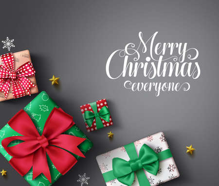 Christmas gifts vector banner background. Merry christmas greeting typography text in empty space for messages with colorful xmas gift, snowflakes and stars elements in gray background. Vector illustration.