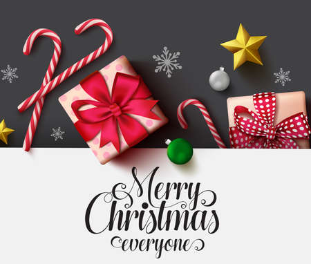 Christmas vector background template. Merry christmas typography text in white empty space for text and messages with decoration elements of xmas gift, candy cane, balls, snowflakes and stars in black background. Vector illustration.