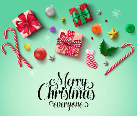 Christmas elements vector banner background. Merry christmas typography text with xmas objects and elements of santa sock, gift, candy cane, balls, snowflakes, and stars for greeting card in green background Vector illustration Çizim