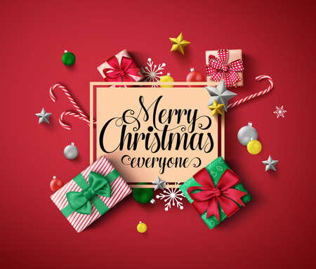Chirstmas greeting vector template. Merry christmas everyone greeting text in orange empty frame with colorful elements of xmas decor like gift, candy cane, and ball in red background. Vector illustration. Çizim