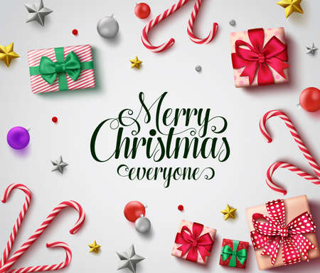 Christmas vector background design. Merry christmas everyone greeting text with colorful decoration elements of xmas gift, candy cane, balls and stars in white background. Vector illustration.