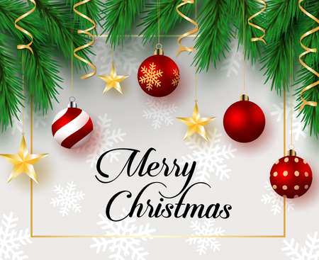 Christmas hanging vector background template. Merry christmas greeting typography text in white empty space for text and messages with hanging xmas decoration of balls, start, pine leaves elements and snow pattern,. Vector illustration. Çizim