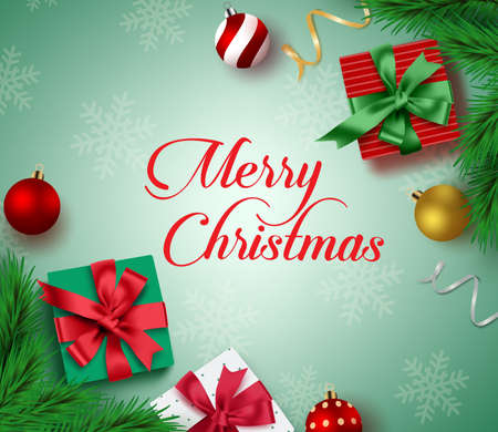 Christmas greeting card vector background. Merry christmas typography text with colorful xmas decor elements of gifts, balls, pine leaves and confetti in green background with snowflakes. Vector illustration. Illusztráció