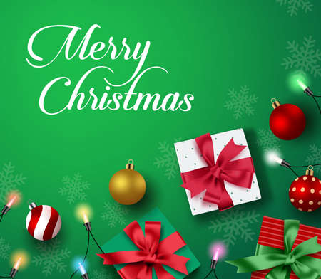 Christmas greeting vector background. Merry christmas holiday season greeting typography text in green empty space for text and messages with colorful decor of xmas gift, balls and lights in snowflakes background. Vector illustration.