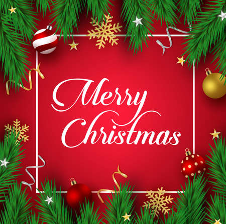 Christmas vector background template. Merry christmas typography text in empty frame and border for space for text and messages with xmas decoration of pine leaves, balls, snowflakes, confetti and stars in red background. Vector illustration.