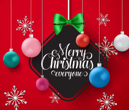Christmas balls vector design. Merry christmas greeting text in empty space for messages with hanging christmas balls element in frame and snowflakes in red background. Vector illustration.