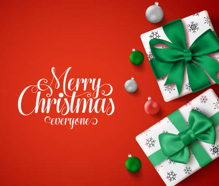 Christmas vector banner in red background. Merry christmas greeting text for holiday season with box of gifts and xmas balls elements. Vector Illustration.