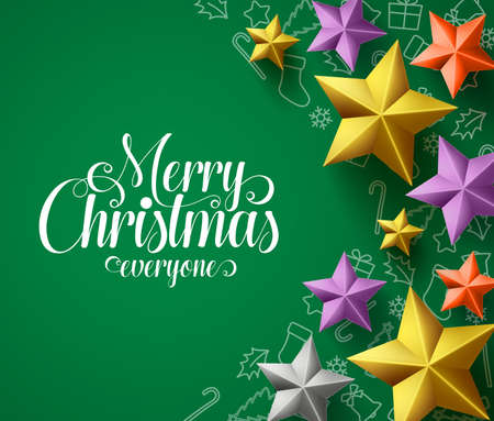 Merry christmas vector design with stars. Christmas greeting text for holiday season with colorful stars elements in green pattern. Vector Illustration. Çizim
