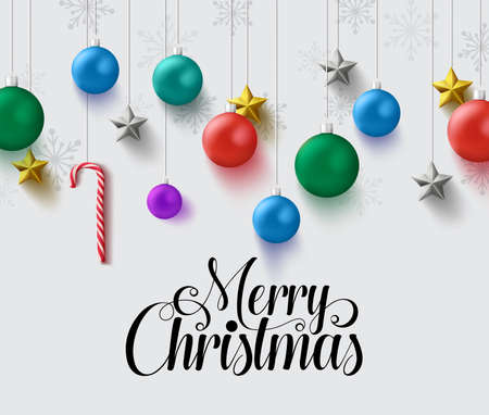 Christmas balls vector design. Merry christmas greeting text in empty space for messages with hanging xmas element like christmas balls, candy cane and stars in white background. Vector illustration.