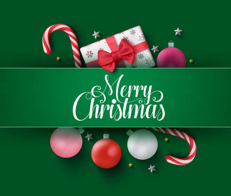 Christmas vector green design concept. Merry christmas greeting card with colorful xmas elements like candy cane, balls and gifts in green background. Vector illustration Illusztráció