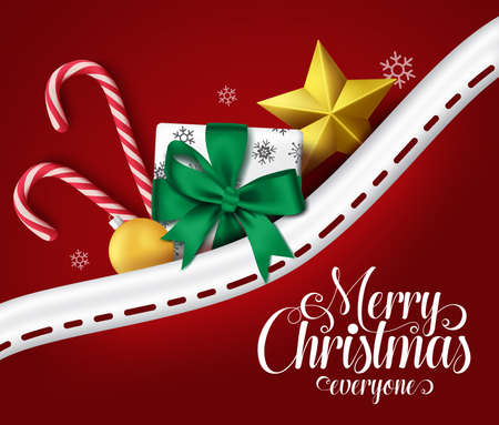 Merry christmas vector greeting design in pocket. Christmas text for holiday season with colorful xmas elements in pocket. Vector Illustration Çizim