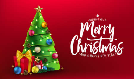 Christmas Banner. Xmas Decorative Design with Christmas Tree, Gifts, Balls, Star, Pine Cone and Lights in Red Background Greeting Card with Merry Christmas Typography Lettering Message. Horizontal Banner Vector Illustration Ilustração