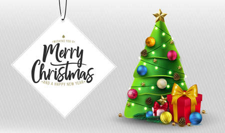 Merry Christmas Greeting Typography Lettering in White Space for Text with Christmas Tree, Gifts, Balls, Star, Pine Cone and Lights in White Stripes Background Greeting Card Holiday Horizontal Banner. Vector Illustration Ilustrace