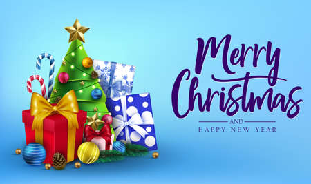 Christmas Greeting Card Horizontal Banner with Merry Christmas and Happy New Year Message Typography Lettering Text in Blue Background with Candy Canes, Christmas Tree, Gifts, Balls, Star, Pine Cone and Lights. Vector Illustration