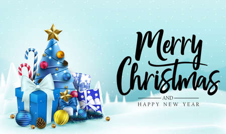 Christmas Banner. Snowy Background with Merry Christmas and Happy New Year Message Typography Lettering Text in Blue Background with Candy Canes, Christmas Tree, Gifts, Balls, Star, Pine Cone and Lights. Vector Illustration